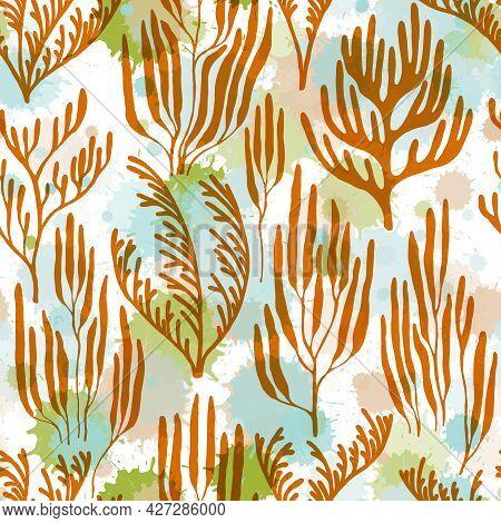 Coral Polyps Seamless Pattern., Mediterranean Staghorn And Pillar Corals Bushes.