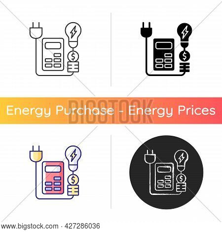 Energy Price Rebates Icon. Discount For Electrical Power Consumption. Save Money On Electricity Serv