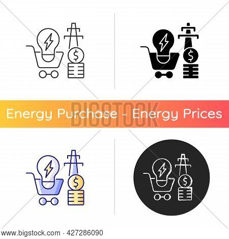 Electricity Demand Icon. Electrical Power Generation Cost. Sustainability In Power Distribution. Uti