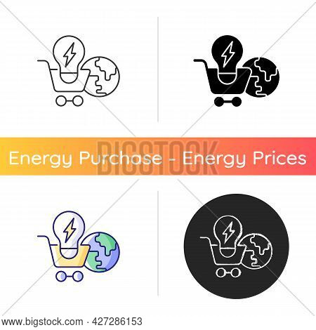 Global Energy Markets Icon. International Renewable Power Supply. Efficient Consumption Of Electrici