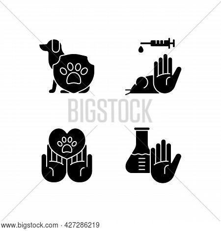 Animal Testing Black Glyph Icons Set On White Space. Pet Welfare. Protection For Dogs, Mice, Rats. B