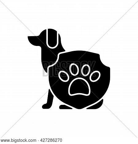 Animal Protection Black Glyph Icon. Pet Welfare Label. Cruelty Free Mark For Vegan Brand. Health Car
