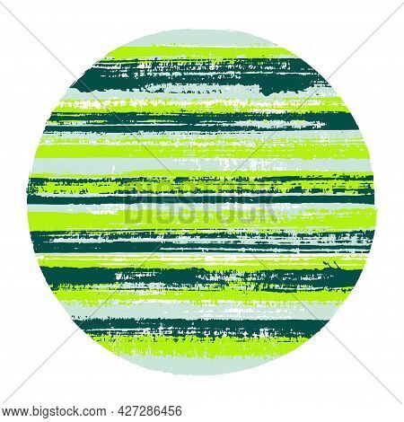 Abstract Circle Vector Geometric Shape With Striped Texture Of Ink Horizontal Lines. Disk Banner Wit
