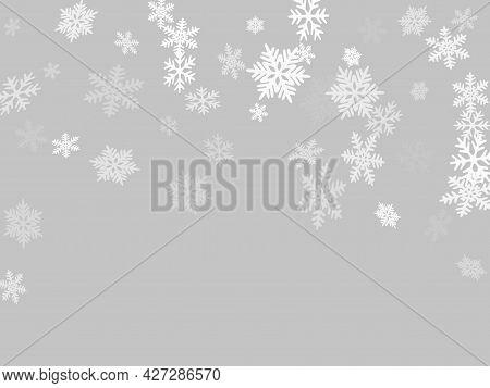 Winter Snowflakes Border Trendy Vector Background. Macro Snowflakes Flying Border Illustration, Holi
