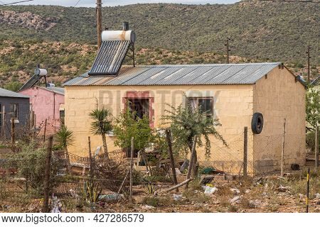 Willowmore, South Africa - April 21, 2021: A House With A Solar Geyser In A Township In Willowmore I