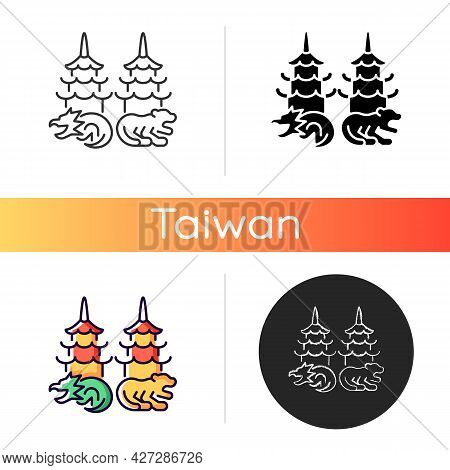 Taiwanese Dragon And Tiger Pagodas Icon. Chinese Cultural Values. Asian Traditional Architecture Ele
