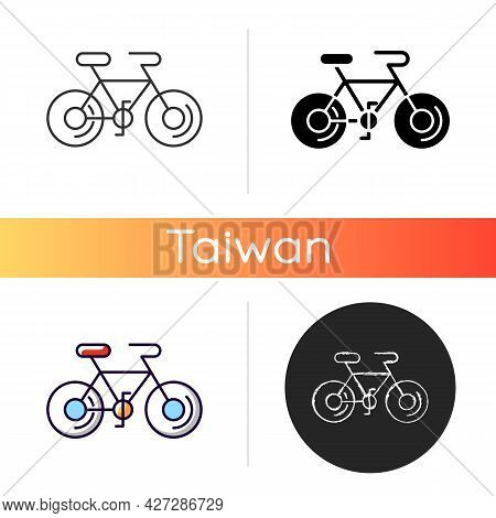 Bicycle White Linear Icon. Taiwan Cycling Travel. Riding Round Entire World. Asian Journey. Touring