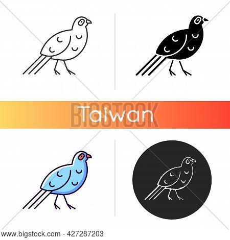 Bird Icons. Mikado Pheasant. Taiwanese Aborigines Head Decoration. Taiwan Mountainous Regions. Exoti