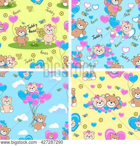 Set Of Seamless Patterns With Enamored Tedy Bear. Children's Wallpaper With A Teddy Boy And A Teddy