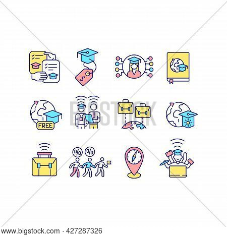 Virtual International Internship Rgb Color Icons Set. Remote Learning. Studying Abroad. Isolated Vec