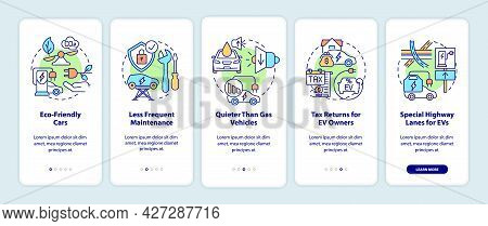 Electric Car Advantages Onboarding Mobile App Page Screen. Ev Maintenance Walkthrough 5 Steps Graphi