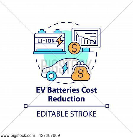 Electric Vehicles Batteries Cost Reduction Concept Icon. Ev Charging Solutions. Eco Transport Abstra