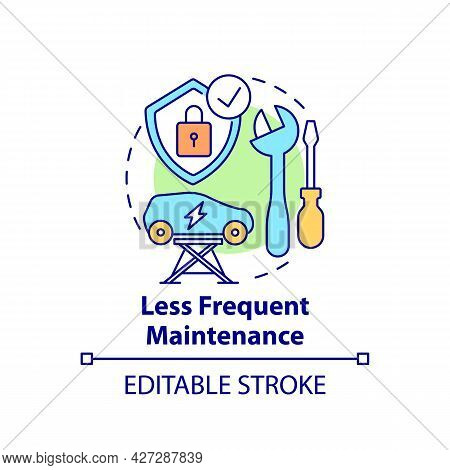 Electric Vehicles Less Frequent Maintenance Concept Icon. Ev Intelligence Solution Abstract Idea Thi