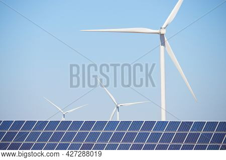 Many solar panels for electric production and windmills in Zaragoza Province, Aragon, Spain.