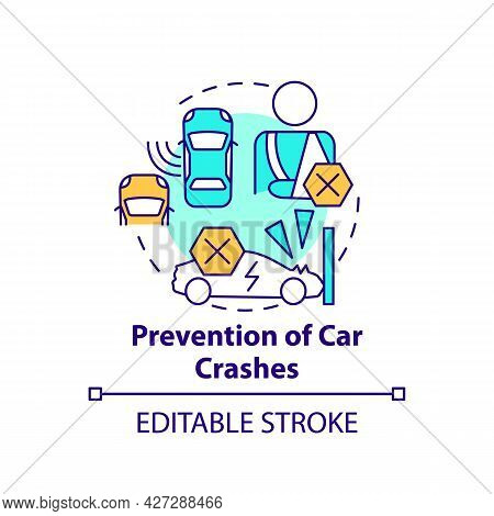 Car Crashes Preventation Concept Icon. Electric Vehicles Collision Avoidence System. Ev Accident Tec