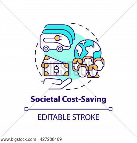 Electric Vehicles Societal Cost Saving Concept Icon. Ev Quantifying Benefits Abstract Idea Thin Line