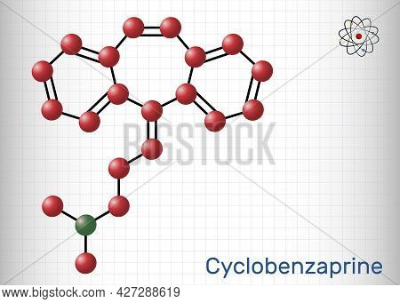 Cyclobenzaprine, Molecule. It Is Centrally-acting Muscle Relaxant. Structural Chemical Formula And M