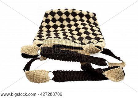 Handmade Crochet Bag. Close-up Of Monochrome Handbag On White Background. Gray, Red, Black, Brown Kn