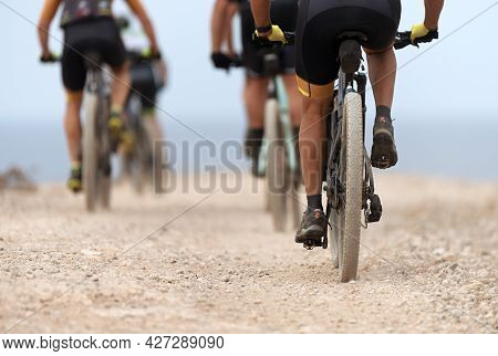 Mountain Bikes In A Competition, Healthy Lifestyle Active Athlete