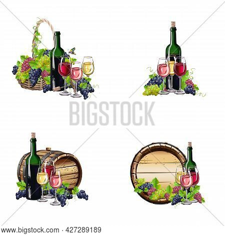 Vector Set Of Wine And Grapes Still Life In Realistic Style. Winemaking. Wine Barrel, Glass Of Wine,