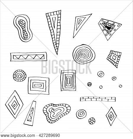 Set Of Geometric Shapes With Patterns In Trendy Style, Hand Drawn In Doodle Style. Vector Illustrati