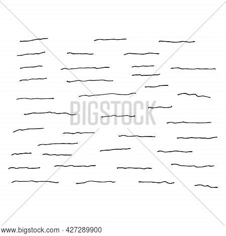 Water Texture Drawn By Hand With Pen And Ink. Isolated On White Background, Vector Illustration. Can