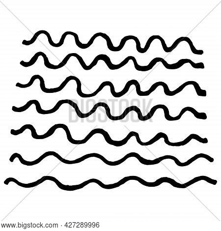 Texture Of Stripes Drawn By Hand With Pen And Ink. Isolated On White Background, Vector Illustration