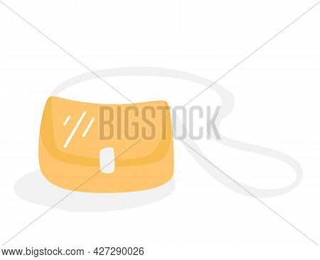 Fashionable Small Lady's Bag.  Women's Clutch Bag Yellow, Isolated On A White Background. Stylish Wo