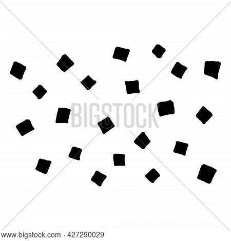 Cubes Texture. Drawn By Hand With Pen And Ink. Isolated On White Background, Vector Illustration. Ca
