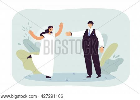 Happy Groom Taking Bride By Hand Flat Vector Illustration. Young Couple In Wedding Dresses Getting M