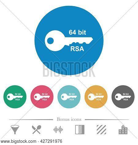 64 Bit Rsa Encryption Flat White Icons On Round Color Backgrounds. 6 Bonus Icons Included.