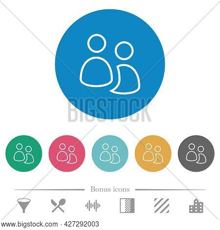 User Group Outline Flat White Icons On Round Color Backgrounds. 6 Bonus Icons Included.