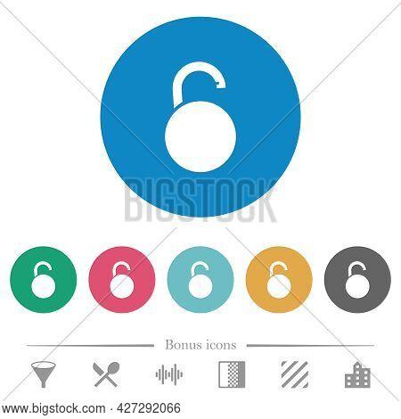 Unlocked Round Padlock Flat White Icons On Round Color Backgrounds. 6 Bonus Icons Included.