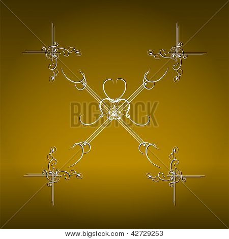 Illustration the luxury gold pattern ornament borders poster