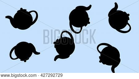 Composition of kettle icons on white background. happy family, love and support concept digitally generated image.