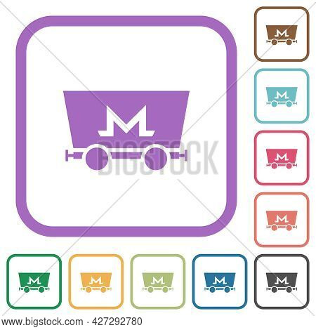 Monero Cryptocurrency Mining Simple Icons In Color Rounded Square Frames On White Background