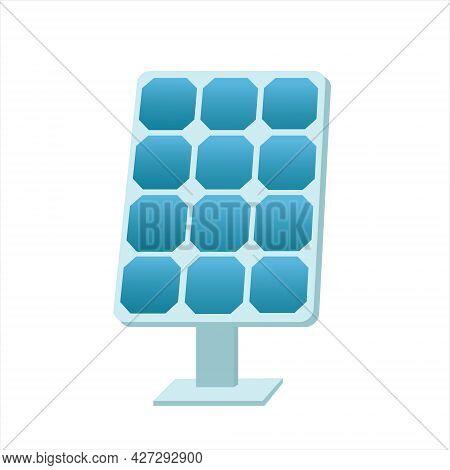Solar Battery. Photovoltaic Panel. Solar Cell. Sun Energy Concept. Isolated Flat Vector Illustration