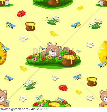 Teddy Bear With Honey Seamless Pattern. Children's Wallpaper With A Teddy Bear. Fairy Tale Vector Ba