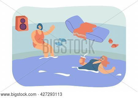 Friends Relaxing In Swimming Pool Flat Vector Illustration. Girl Swimming And Drinking Beverage. Oth