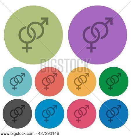 Heterosexual Symbol Darker Flat Icons On Color Round Background