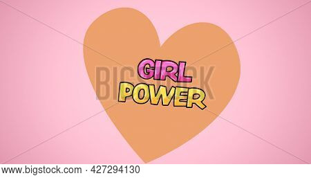 Composition of text girl power over heart. girl power, positive female strength and independence concept digitally generated image.
