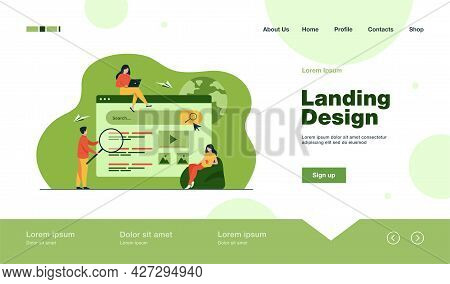 People Using Search Box For Query, Engine Giving Result. Vector Illustration For Seo Work, Serp, Onl