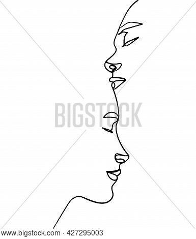 Loving Couple, Black Line Drawing. - Vector Illustration