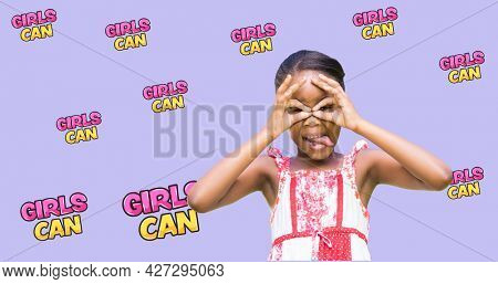 Composition of text girls can over girl. girl power, positive female strength and independence concept digitally generated image.