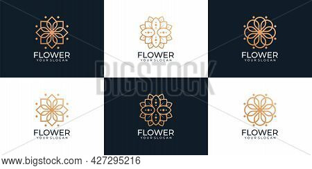 Beauty Logotype Collection With Floral Ornaments For Spa. Logo Can Be Used For Icon, Brand, Identity