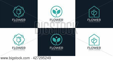 Set Of Minimal Linear Beauty Flowers Logo Boutique Health Wellness Inspiration. Logo Can Be Used For