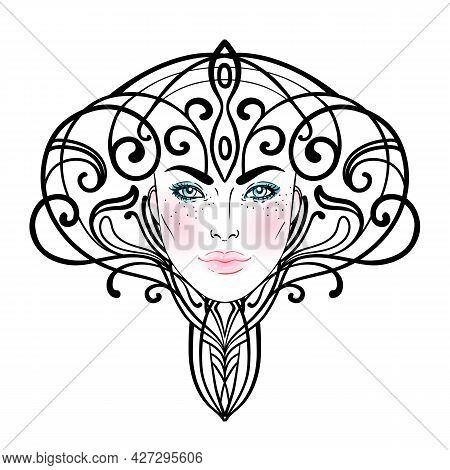 Tribal Fusion Boho Diva. Beautiful Divine Girl With Ornate Crown, Art Nouveau Inspired. Bohemian God