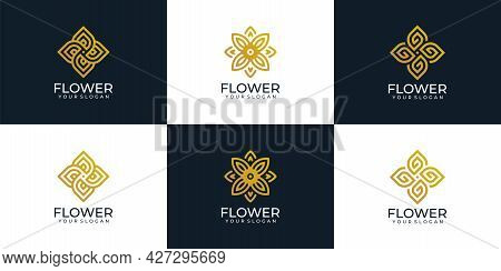 Beauty Flower Logo Design Collection For Cosmetic Spa Yoga Decoration Hotel. Logo Can Be Used For Ic
