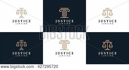 Minimal Monogram Justice Law Firm Logo Elements Legal Symbol. Logo Can Be Used For Icon, Brand, Iden