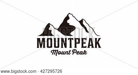 Vintage Hipster Mountain Peak Landscape Silhouette Logo Design. Logo Can Be Used For Icon, Brand, Id